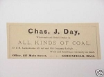 1889 Greenfield, Mass. Ad Chas. J. Day Coal Dealer