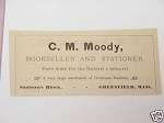 1889 Ad C. M. Moody, Bookseller, Greenfield, Mass