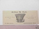 1889 Ad Arthur N. Hull, Wood and Coal, Greenfield, Mass