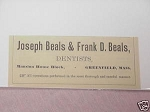 1889 Ad Joseph & Frank Beals Dentists Greenfield, Mass.