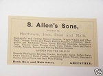 1889 Ad S. Allen's Sons Hardware, Greenfield, Mass.