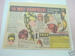 1970 Ad 10 Way Hairpiece Beauty Aids Co. East Orange NJ