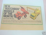 1969 Ad Matchbox Models of the Month Dump Truck, Crane
