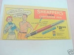 1958 Ad Sheaffer's New Cartridge Pen W. A. Sheaffer
