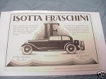 1928 Automobile Ad Isotta Fraschini The Chassis