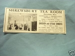 1927 Ad Shrewbury Tea Room, Shrewsbury, Mass.