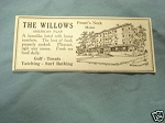 1927 Ad The Willows, Prout's Neck, Maine