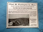 1927 Ad Climb Mount Washington By Motor Glen House N.H.