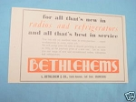 1945 South Africa Ad Bethlehem's