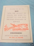 1945 South Africa Ad Flying Service Cleaners & Dyers