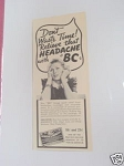1940 Ad Relieve That Headache with BC