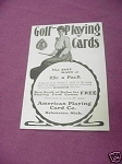 1903 Golf Playing Cards Ad American Playing Card Co.