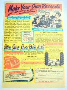 1952 Make Your Own Records Ad Seagee Company