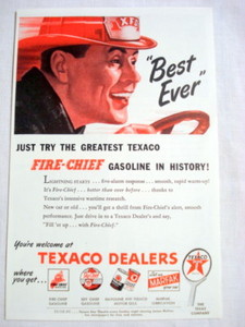 1946 Ad Texaco Fire-Chief Gasoline Best Ever
