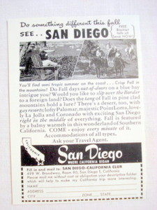1949 San Diego Vacation Ad Do Something Different