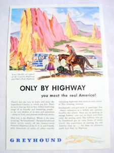 1946 Greyhound Bus Ad Only By Highway