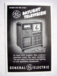 1949 General Electric Television Ad GE