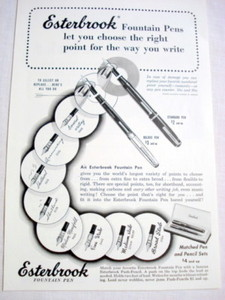 1949 Ad Esterbrook Fountain Pens
