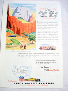 1946 Union Pacific Railroad Ad Road of the Streamliners