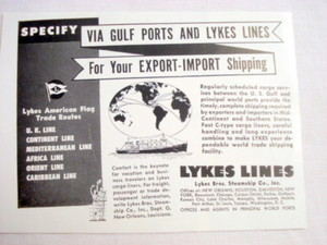 1949 Lykes Lines Ad Lykes Bros. Steamship Co. Inc.
