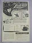1959 Ad Walt Disney Zorro Color Television Set