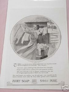 1918 Ivory Soap Ad Woman with Clothes Line