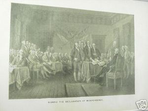1894 Illustrated Page Signing of Declaration of Independence