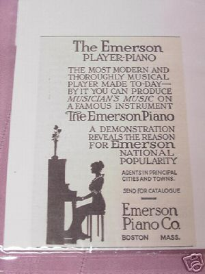 1915 Ad The Emerson Player Piano, Emerson Piano Co.