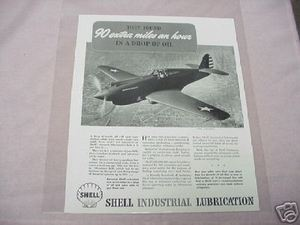 1941 Ad Shell Lubrication Curtiss P-40 Pursuit