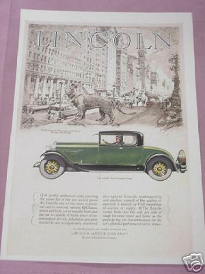 1927 Lincoln Motor Company Four Passenger Coupe Ad