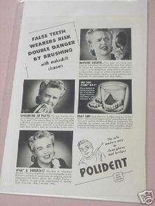 1943 Polident Ad False Teeth Wearers Risk Danger