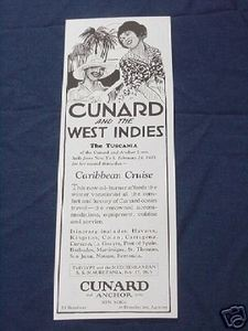 1925 Cunard and Anchor Lines Ad Caribbean Cruise