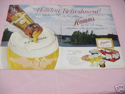 1953 Hamm's Beer 2 Page Color Ad