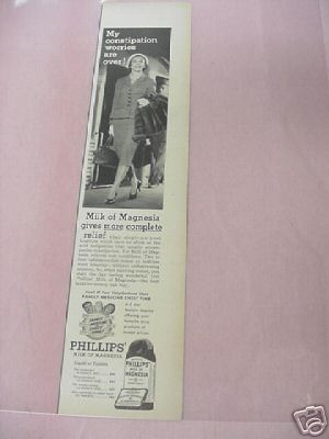 1955 Phillips Milk of Magnesia Ad Constipation Worries