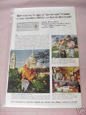 1965 First National City Travelers Checks Color Ad