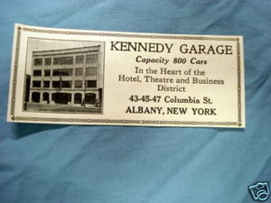 1927 Ad Kennedy Garage, Albany, New York