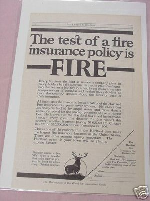 1915 The Hartford Fire Insurance Co. Ad With Elk Logo