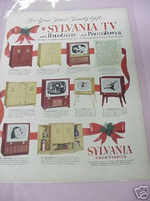 1953 Sylvania Television Ad 9 Styles Featured