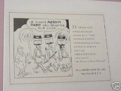1950 M. J. Merkin Paint Co. Ad With Cartoon Illustration