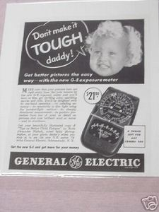 1941 G-E Exposure Meter Photography Ad General Electric