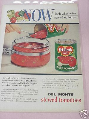 1955 Del Monte Stewed Tomatoes Full Page Color Ad
