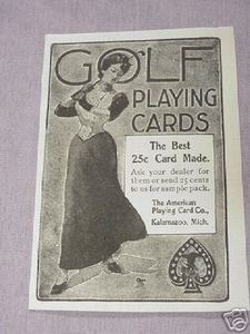 1901 Golf Playing Cards Ad American Playing Card Co. Kalamazoo, Mich.