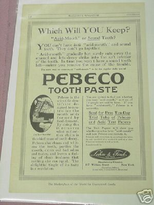 1914 Pebeco Tooth Paste Ad Toothpaste