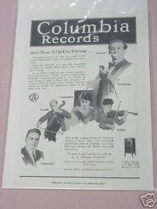 1919 Columbia Records Ad Hear Them All In One Evening
