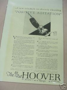 1926 Ad Hoover Vacuum Cleaner Positive Agitation