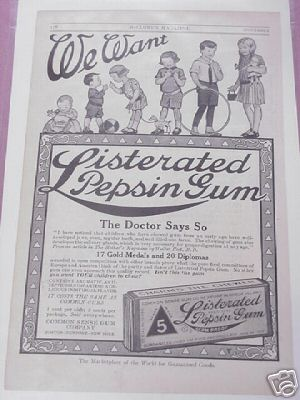 1914 Ad Listerated Pepsin Gum Common Sense Gum Company