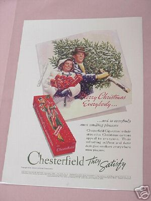 1938 Chesterfield Cigarettes Ad Merry Christmas