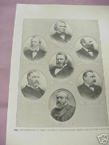 1900 Illustrated Page 19th Century U.S. Presidents & Overland Coach