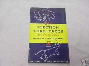 1936 Sunoco Booklet Election Year Facts Lowell Thomas