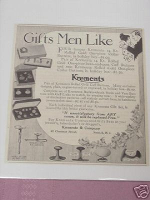 1914 Ad Krementz Men's 14 Kt. Gold Accessories Ad